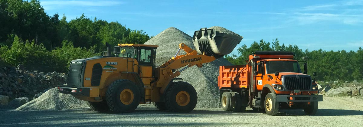 Landscape Materials Sales & Delivery (New Hampshire & northern Massachusetts): screened loam, gravel, sand, stone, fill, top soil, topsoil, aggregate, stone dust, crushed stone, crushed gravel, crushed concrete, screened sand, Presby sand, RAP